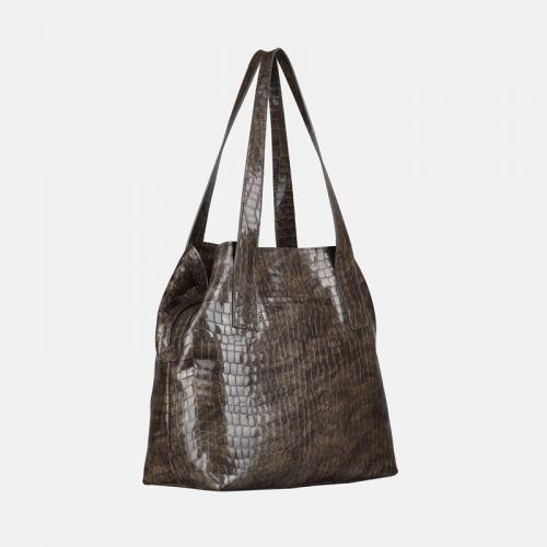 Szara skórzana torebka damska na ramię ze wzorem krokodyla