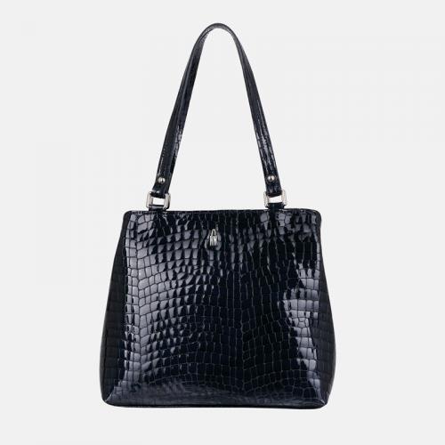Skórzana torebka damska na ramię w kolorze granatowym z tłoczeniem imitującym skórę krokodyla