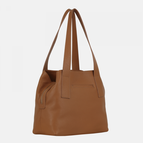 Skórzana torebka damska na ramię w kolorze miodowym