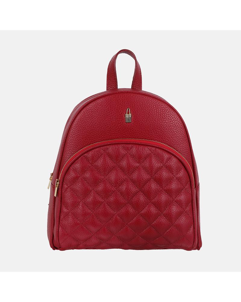 Plecaczek damski skórzany w kolorze czerwonym z modnym pikowaniem