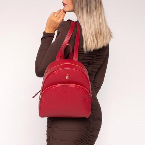 Czerwony plecak ze skóry