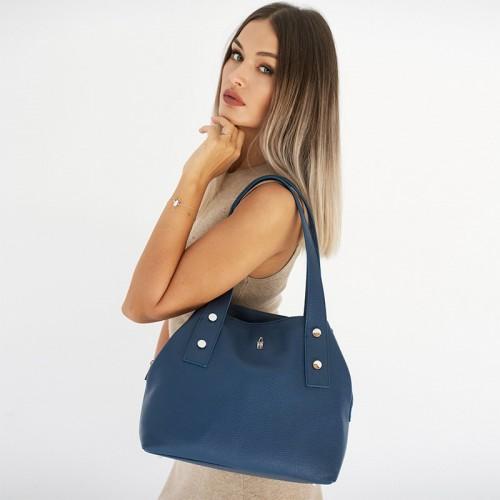 Granatowa damska torba na ramię ze skóry
