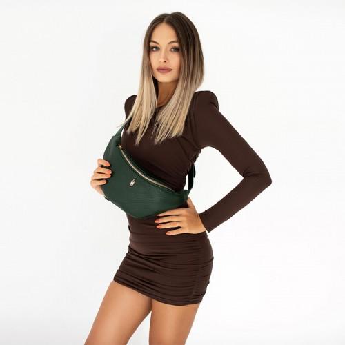 Zielona torebka nerka ze skóry włoskiej
