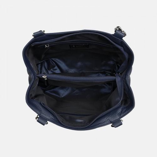 Damska torba na ramię w kolorze granatowym ze skóry naturalnej