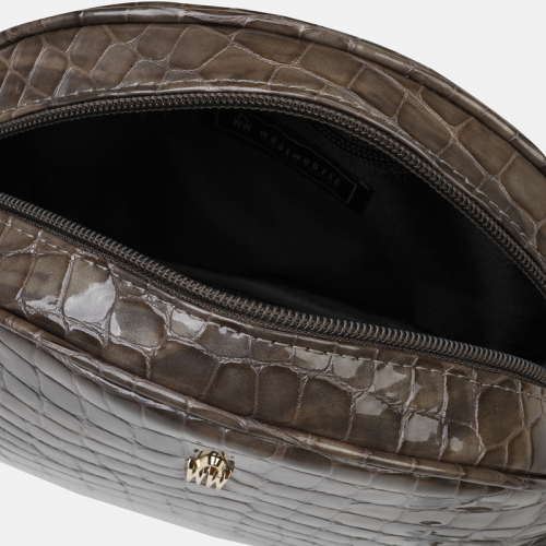 Szara torebka listonoszka ze skóry naturalnej we wzór krokodyla