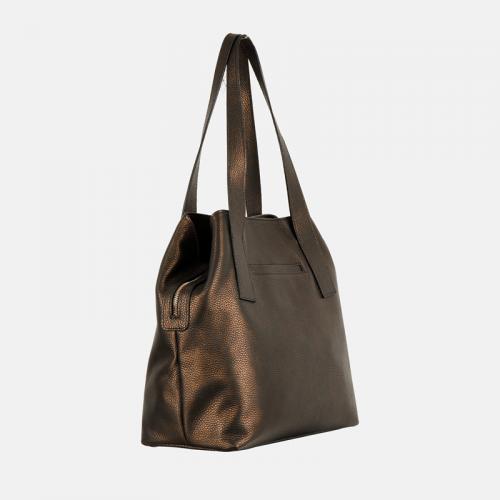 Klasyczna torebka damska ciemnozłota ze skóry naturalnej