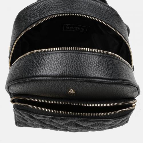 Pikowany czarny plecak damski z naturalnej skóry