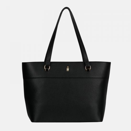 Czarna torba skórzana shopperka