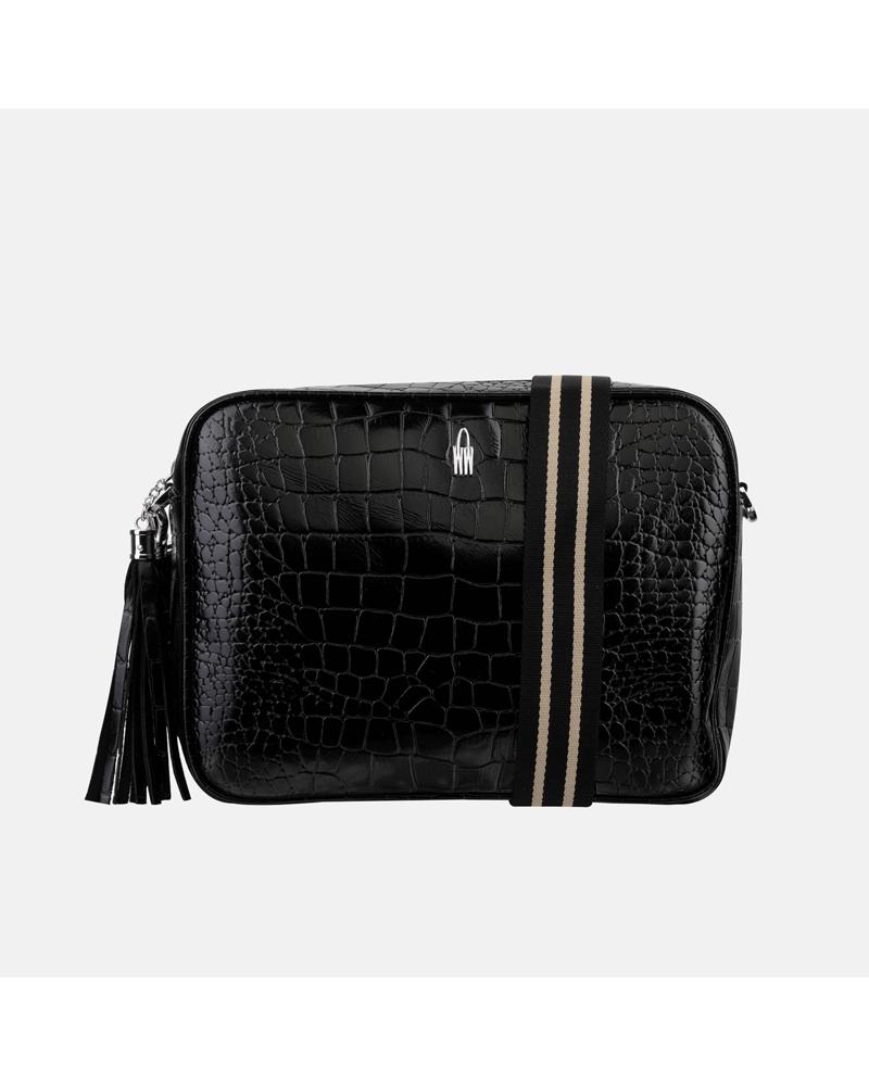 Czarna torebka listonoszka damska skórzana we wzór imitujący krokodyla i parcianym paskiem